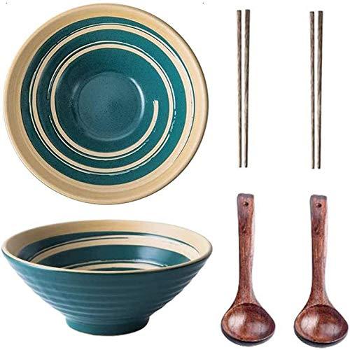 YWYW 2 Cuencos japoneses de cerámica para Ramen, Juegos de Cuencos Grandes para Fideos con Cuchara y Palillos a Juego, Cuenco para Ramen, pho, Ensalada, Poke, Sopa