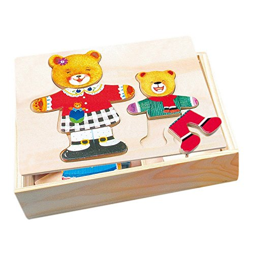 Wooden Dress Up Puzzle 'Mother Bear with Little Bear'