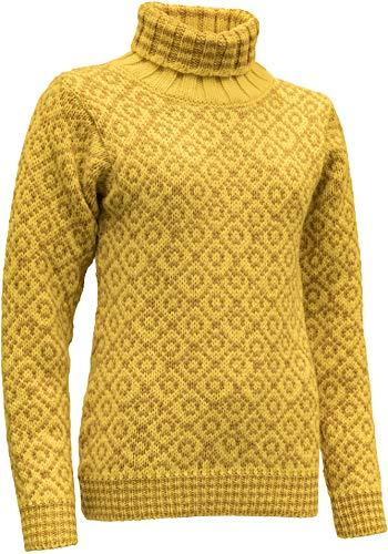 Devold Originals Svalbard Sweater High Neck Gelb, Merino Freizeitpullover, Größe - Farbe Cyber - Arrowwood