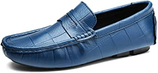 HUANGAIHUA Penny Loafers for Men Casual Shoes Slip-on Genuine Leather Lightweight Anti-slip Flat Round Toe Embossed Driving Dress