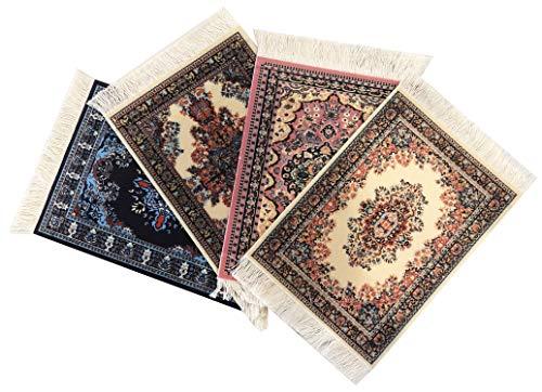 Inusitus Set van 4 onderzetters tapijt patroon kleurrijke onderzetters glas, tafel en baronderzetters - meerkleurig