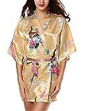 Avidlove Robe de Chambre Satin Soyeux Peignoir Court Kimono Soie Femme