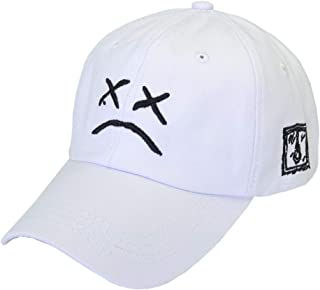 Home Fashion DIY Sad Boys Adjustable Hat Crying Face Embroidery Baseball Cap Dad Hat Hip Hop Cap Black (White)