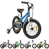 NB PARTS Kinderfahrrad für Mädchen und Jungen BMX Bike ab 3 Jahre 12 Zoll / 16 Zoll (Blau 12 Zoll,...