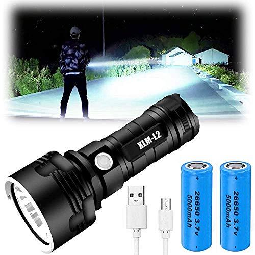 XLM-P70 Linterna LED - 30000-100000 lúmenes de alta potencia, 3 modos Super brillante linterna impermeable, linterna recargable por USB, linterna fuerte de mano (25 W XLM-L2, batería doble)