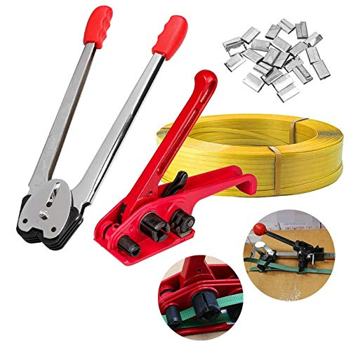 Heavy Duty Manual 4 in 1 PET/PP Manual Strapping Tools Packing Machine Set Tensioner & Sealer 100m Packing Belt