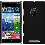 PhoneNatic Hülle kompatibel mit Nokia Lumia 830 - Hülle schwarz gummiert Hard-case + 2 Schutzfolien