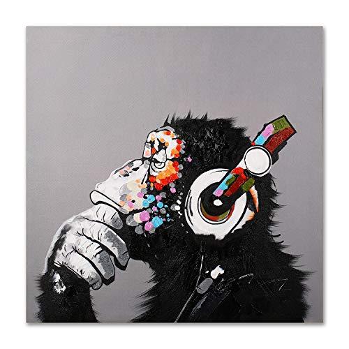 Modern Pop Art Decor - Framed - Thinking Monkey With Headphones Canvas Print Home Decor Wall Art, Gallery Wrap Inner Frame, 24x24