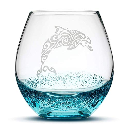 Stemless Wine Glasses Etched w/Dolphin