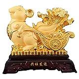 ZPEE Estatuas 2020 Año Chino del Zodiaco de la Rata de Oro Resina Rata con Feng Shui Baicai/Col de...