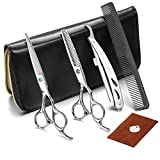 CCbeauty Professional Hair Cutting Scissors Barber Thinning Texturizing Hairdressing Shears, Japanese Stainless Steel Haircut Kit 6 inch