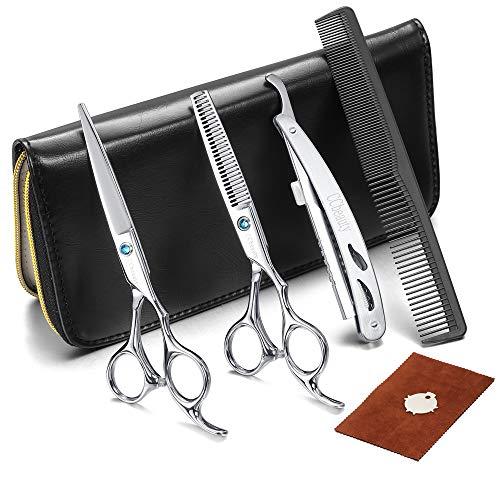 CCbeauty Friseurschere Professionelle Haarschere Set mit 2 Stücke Friseurscheren aus japanischem Edelstahl, Kamm und Rasiermesser für Damen und Herren Zuhause Perfekter Haarschnitt