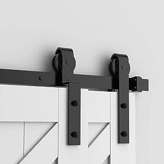 skysen 5FT Heavy Duty Sliding Barn Door Hardware Single Track Bypass Double Door Kit Black(Bypass J Shape)