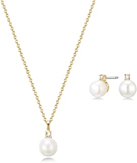 Mestige Women's Golden Katalina FWP with Swarovski Crystals Jewelry Set - MSSE3298