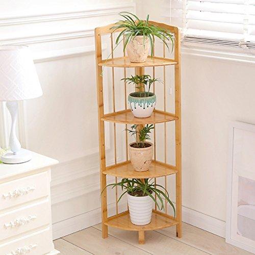 LJ Balcon d'angle multicouche rural Salon Supports de fleurs en bambou ( taille : Four layers )