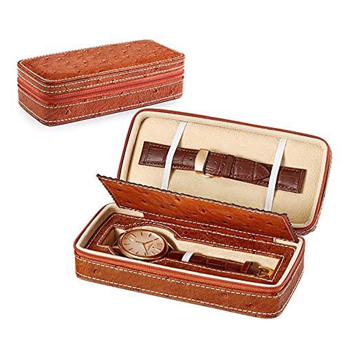 wanhe Zipper Watch Box Einfache Pu Tragbare Mini (1/2/4) Gitter Uhrenaufbewahrungsboxen Haushalt Reiseuhrentasche Universal Boxen Box (Color: Brown and Black),A