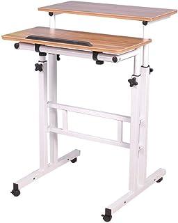 Adjustable Mobile Stand Up Desk Standing Desk Computer Desk Workstation Sit-Stand Desktop Standing Desk (Ancient Oak)