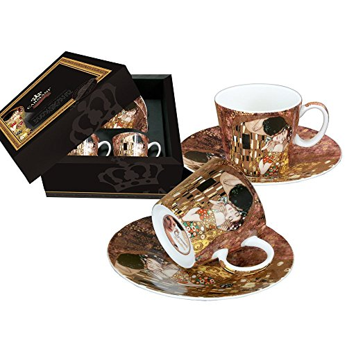 CARMANI - Gustav Klimt 'Der Kuss', Porzellan Espressotasse mit Untertasse 2er Set