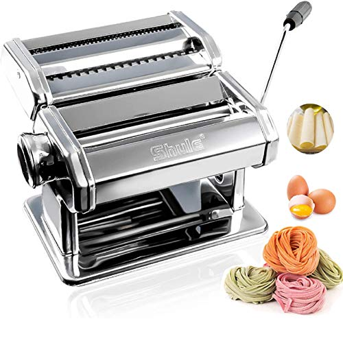 Shule Pasta Maker Stainless Steel Pasta Machine Includes Pasta Roller, Pasta Cutter, Hand Crank and Detailed Instructions (Original Silver)