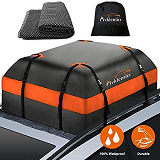 FIVKLEMNZ Car Roof Bag Cargo Carrier, 15 Cubic Feet Waterproof Rooftop Cargo Carrier with..