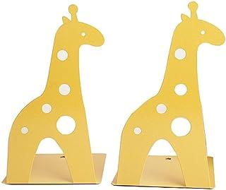 Serre-livres en fer antidérapant en forme de girafe - 21 cm - Pour enfants, bibliothèque, école, bureau, maison - Jaune