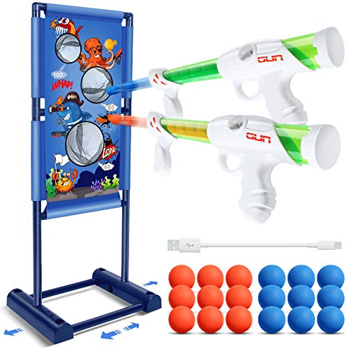 Shooting Game Toy - Boy Toys for 5, 6, 7, 8, 9, 10+Year Old Boys/Girls/Kids, 2pk Foam Ball Popper Air Toy Guns, Moving Shooting Targets with 18 Foam Balls, Compatible with Nerf Toys