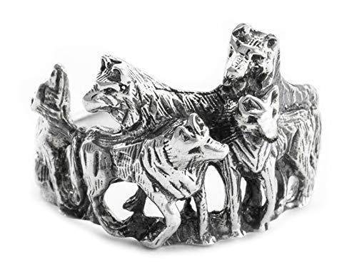 Windalf Wolfs-Ring NYMERIA h: 1.6 cm Wolfsrudel Schattenwölfe 925 Sterlingsilber (Silber, 58 (18.5))