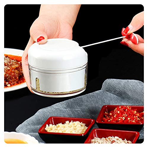 Manueller Zerkleinerer für Lebensmittelvorbereitung – Mini-Handzieh-Küchenmaschine Knoblauchpresse Fleischwolf Gemüsemühle für Fleisch Nüsse Pfeffer Küche Gewürze etc. BPA-frei / langlebig verwendbar
