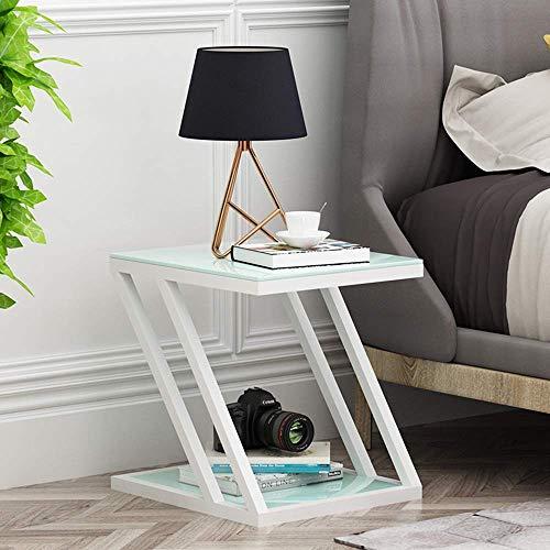 Carl Artbay Home&Selected Furniture / gehard glas Side bijzettafel 2-dier fijne hoektafel met metalen frame (kleur: zwart, formaat: 60 x 40 x 60 cm)