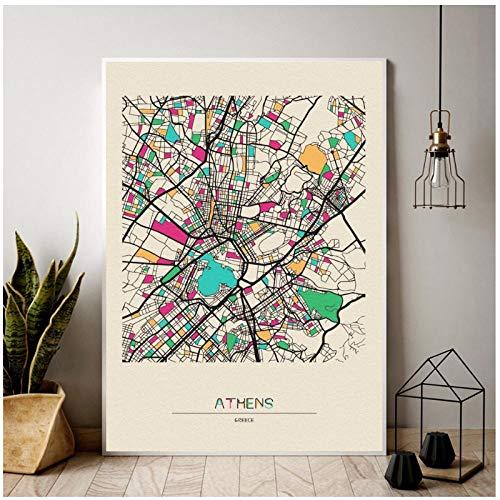 HDKSA Grecia Atene Mappa della Città Colorata Poster su Tela Soggiorno Decorazione della Parete di Casa - 60X90Cmx1 Senza Cornice
