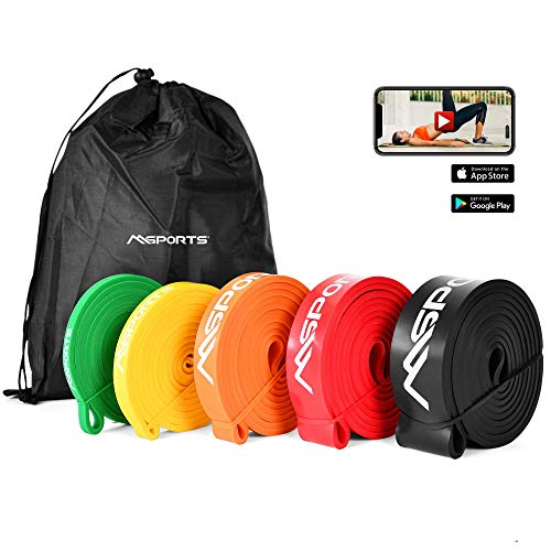 MSPORTS Resistance Band Set Premium in verschiedenen Stärken inkl. Tasche und Workout App - Trainingsband | Gymnastikband | Widerstand-Bänder | Fitnessband (Set)