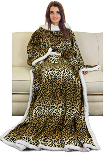 Catalonia Sherpa Wearable Blanket with Sleeves Arms,Super Soft Warm Comfy Large Fleece Plush Sleeved TV Throws Wrap Robe Blanket for Adult Women and Men,Cheetah
