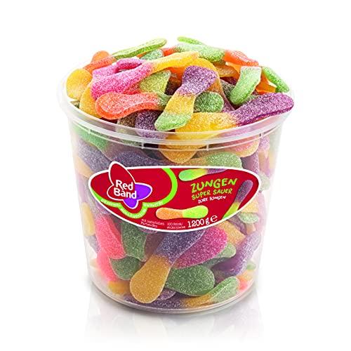 Red Band Zungen Super Sauer - Großpackung: 1,2 kg - Fruchtgummi - Ein Sauer-Süßes Weingummi-Erlebnis mit Suchtfaktor - Holländische Qualität - Süßigkeiten
