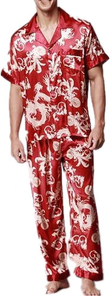 Summer Mens Satin Sleep Suit Print Sleepwear Short Sleeve Shirt Pant