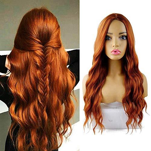 """AIDUSA Long Wavy Wigs Water Weave Hair Wigs for Women Synthetic Hair 28"""" Wigs (#350 Auburn Orange)"""