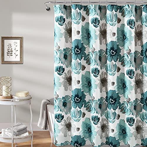 WELTRXE Duschvorhang, wasserfester Polyesterstoff, Duschvorhang für Badezimmer, Aquarell-Blumenmuster, mit 12 Haken, 182,9 x 182,9 cm, schwerer grauer Duschvorhang