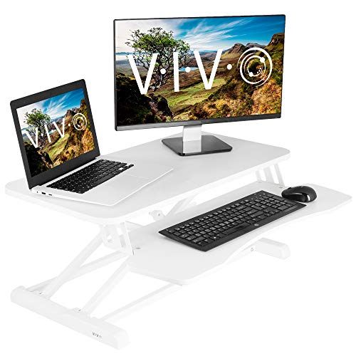 VIVO White Height Adjustable 32 inch Standing Desk Converter, Sit Stand Tabletop Dual Monitor and Laptop Riser Workstation (DESK-V000KW)