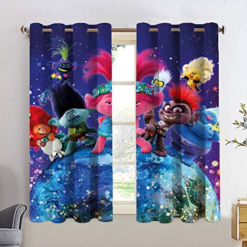 Cortinas de dormitorio Trolls opacas para dormitorio de niñas, 2 paneles/tratamiento de ventanas W55 x L45