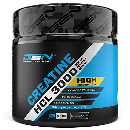 Creatine HCL 3000-320 Kapseln mit je 750 mg - 80 Anwendungen - Hochdosiert mit 3000 mg pro Tag - Kreatin Hydrochlorid für eine verbesserte Aufnahme - Laborgeprüft - Premium Creatin Verbindung