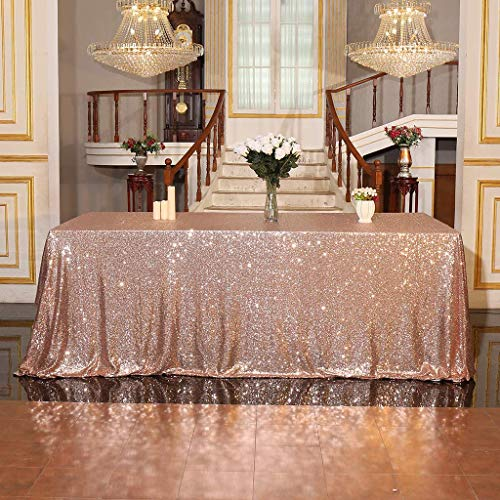 "Juya Delight 60"" x 102"" Rose Gold Sequin Tablecloth Rectangle for Wedding Birthday Party Festival Ceremony Cake Dessert Table"
