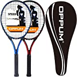 OPPUM 27 inch Pro Tennis Racket for Adults Student Women and Men Rackets Training Tennis Racquet,Super Lightweight Easy Control Racket with Carry Bag (JISU -2pcs Rackets(Red+Blue))