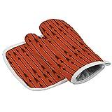 Diseño de flecha de la línea de valla paralelo patrón rojo resistente al calor horno microondas para cocina diaria cocina y horneado guantes de aislamiento perfectos para regalos