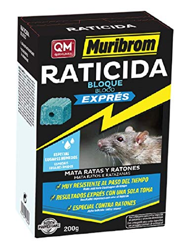 MURIBROM Quimunsa Raticida Cebo Bloque Exprés, Veneno Azul, 200gr