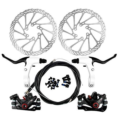 Yorbay Kit Freno a Disco Anteriore/Posteriore Biciclette Impostare MTB di Frenatura a Disco 160MM Rotori Bici da Strada (Nero) Riutilizzabile