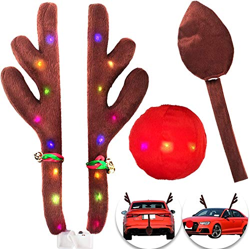 WeChip Christmas Reindeer Antlers Car Kit, LED Lights Car Reindeer Antlers Nose&Tail Decorations Nose&Tail Clothing Kit Xmas Gift Costume Auto Accessories for All Vehicles/Car/SUV/MPV/Truck