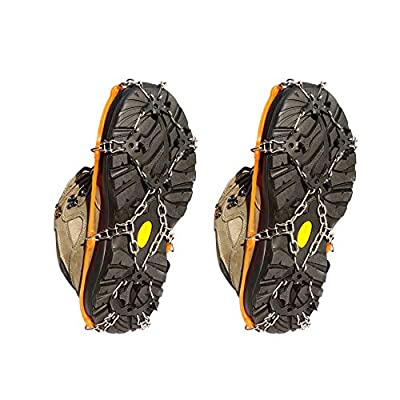 Deacroy Ice Crampons Traction Cleats,Snow Grips for Shoes Boots,18 Spikes Stainless Steel Anti-Slip Ice Grips for Walking Jogging Climbing Fishing Mountaineering and Hiking(M/Orange)