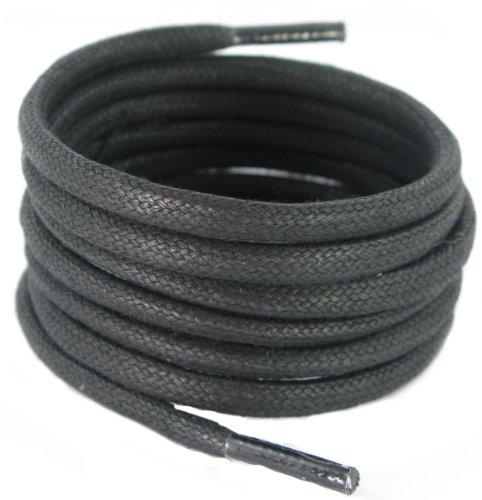 140CM de long 6mm ronde coton ciré noir lacets Boot