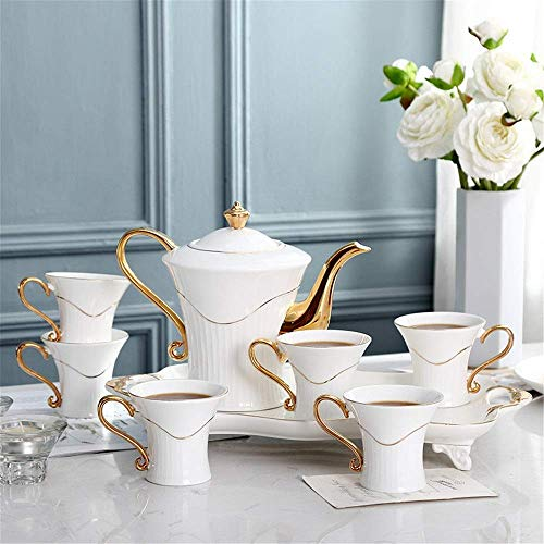 DXX-HR Juego de té de 8 piezas con adornos dorados, estilo europeo, vajilla de café para fiestas y cenas, porcelana esmaltada, servicio de café y té con 6 piezas de tazas y platillos