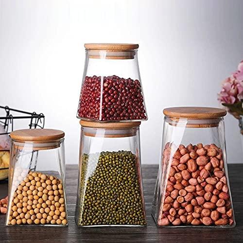 PPuujia Jarra de Vidrio Cocina de Vidrio envase Sellado Lata Caja de Almacenamiento Caja de Caja Redonda Corcho para Granos de café Cereales Alimentos (Color : 350mL)