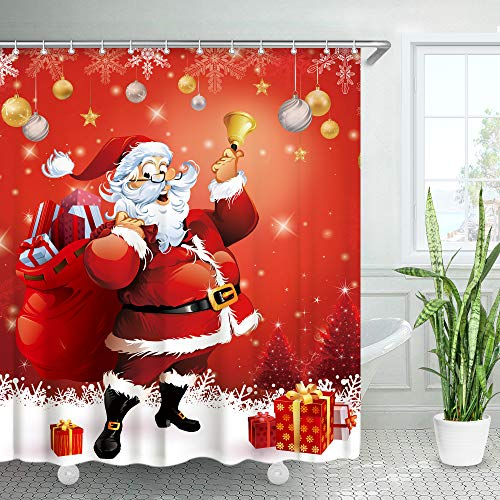 LIVILAN Santa Shower Curtain Santa Claus Ringing a Bell Standing in The Snow Snowflake Red Merry Christmas Shower Curtain with 12 Hooks (Red)